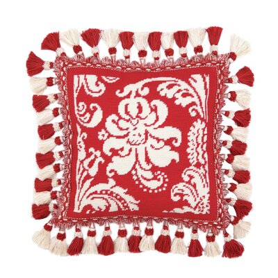 Needlepoint Damask Wool Throw Pillow