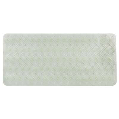 Vinyl Non-Slip Herringbone Design Shower Mat Color: Green