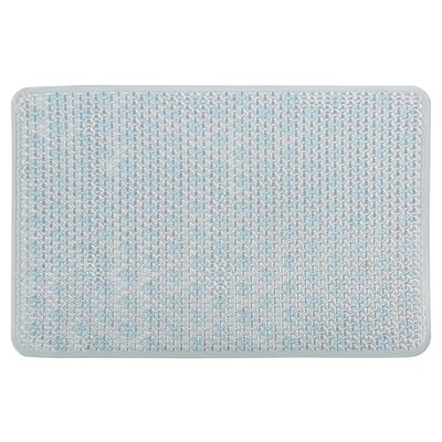 Vinyl Non-Slip Lattice Design Shower Mat with Ultra Secure Suction Cups Color: Blue