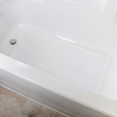 Vinyl Foam Non-Slip Waffle Design Shower Mat with Ultra Secure Suction Cups Color: White