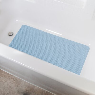 Vinyl Foam Non-Slip Waffle Design Shower Mat with Ultra Secure Suction Cups Color: Blue