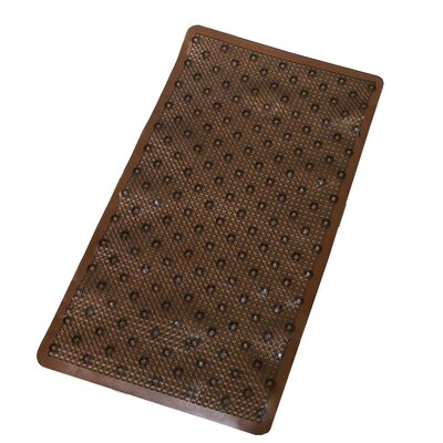 Vinyl Non-Slip Rings Design Shower Mat with Ultra Secure Suction Cups Color: Brown