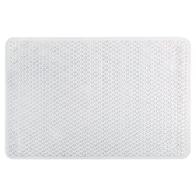 Vinyl Non-Slip Lattice Design Shower Mat with Ultra Secure Suction Cups Color: Clear