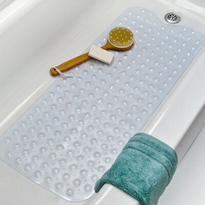 Vinyl Non-Slip Jumbo Design Shower Mat with Ultra Secure Suction Cups Color: Clear