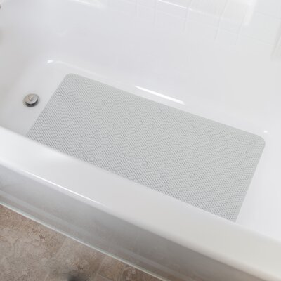 Vinyl Foam Non-Slip Waffle Design Shower Mat with Ultra Secure Suction Cups Color: Gray