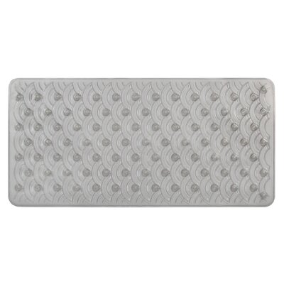 Vinyl Non-Slip Scallop Design Shower Mat with Ultra Secure Suction Cups Color: Smoke