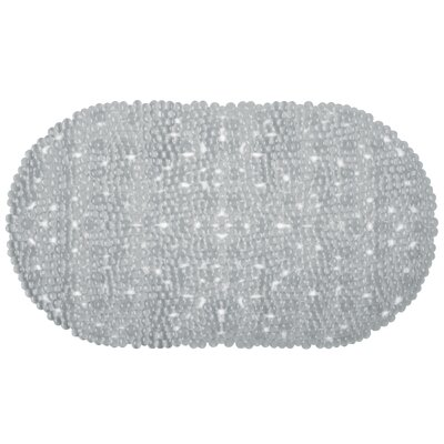 Vinyl Non-Slip Bubble Design Shower Mat with Ultra Secure Suction Cups Color: Gray