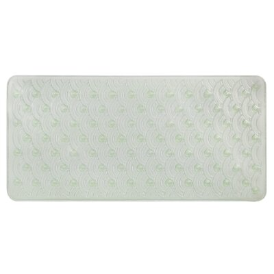Vinyl Non-Slip Scallop Design Shower Mat with Ultra Secure Suction Cups Color: Green