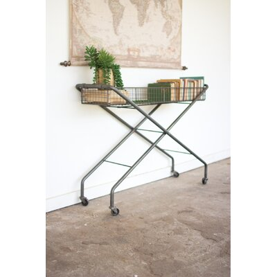 Parker Rolling Metal Basket Console Table