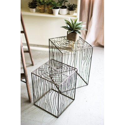 Maisie Wire Woodgrain 2 Piece Nesting Tables