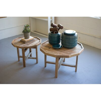 Bryson Round Recycled Wooden 2 Piece Nesting Tables