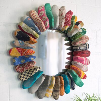 Kantha Fabric Covered Shoe Mold Accent Mirror