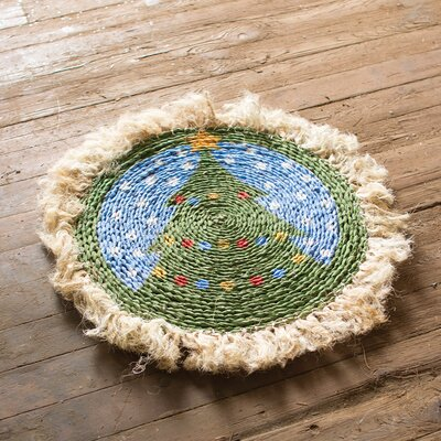 Seagrass Tree with Sisal Border Green/Blue Area Rug