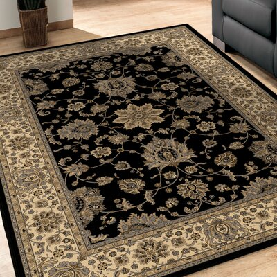 Bergues Black Area Rug Rug Size: 67 x 98