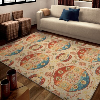 Santino Beige Area Rug Rug Size: 53 x 76