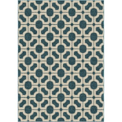 Portwood Azo Blue/Beige Indoor/Outdoor Area Rug Rug Size: 52 x 76