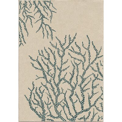 Portwood All Over Coral Ivory/Blue Indoor/Outdoor Area Rug Rug Size: 52 x 76