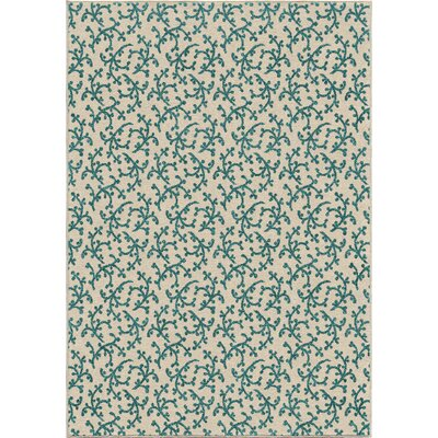 Bourbon Coral Linen Ivory/Blue Indoor/Outdoor Area Rug Rug Size: 78 x 1010