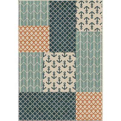 Portwood Patchwork Azo Blue/Cream/Coral Indoor/Outdoor Area Rug Rug Size: 52 x 76