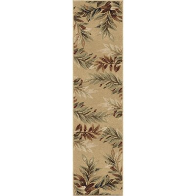 Claravale Stormy Leaves Beige Parchment Area Rug Rug Size: Runner 111 x 75