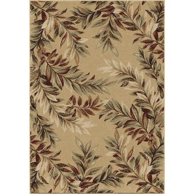 Claravale Stormy Leaves Beige Parchment Area Rug Rug Size: 53 x 76