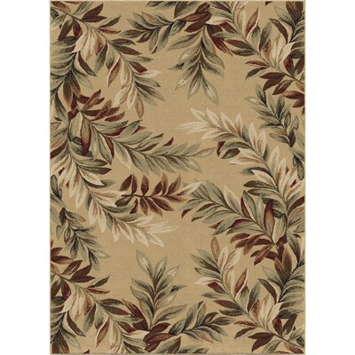 Claravale Stormy Leaves Beige Parchment Area Rug Rug Size: 710 x 1010