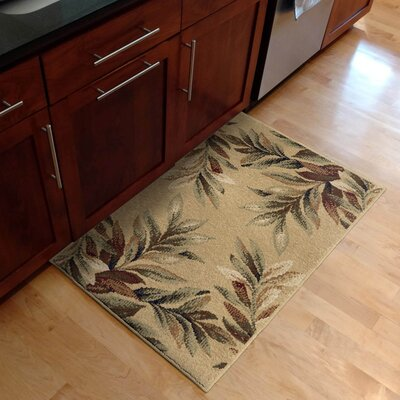 Claravale Stormy Leaves Parchment Kitchen Mat