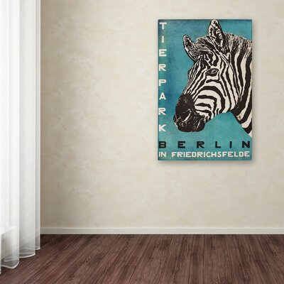 'Berlin Zebra' Graphic Art Print on Wrapped Canvas Size: 19