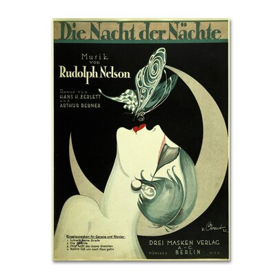 'Art Deco Music Sheet' Vintage Advertisement on Wrapped Canvas Size: 19