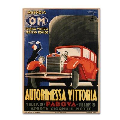'Autorimessa-Vittoria' Vintage Advertisement on Wrapped Canvas Size: 19