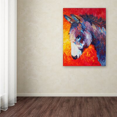 'Donkey V' Print on Wrapped Canvas Size: 19