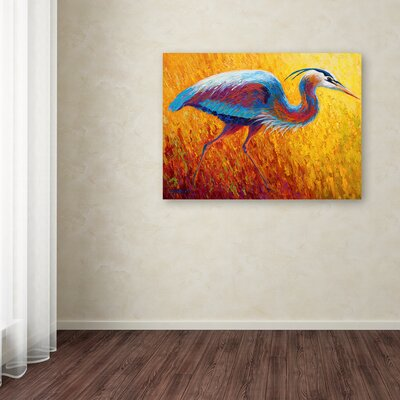 'Blue Heron 2' Print on Wrapped Canvas Size: 14