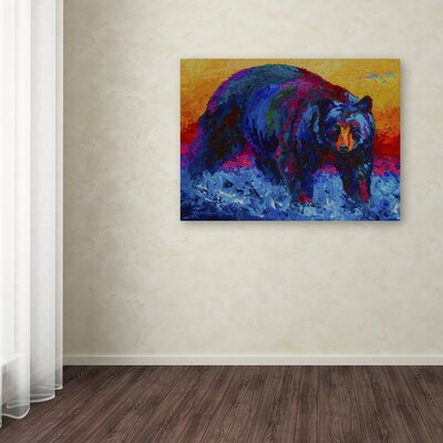 'Scouting Fish Black Bear' Print on Wrapped Canvas Size: 14