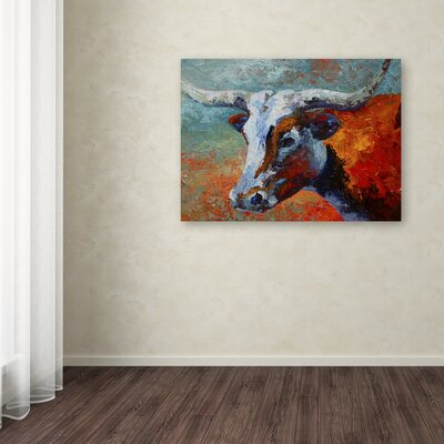 'Young Longhorn' Print on Wrapped Canvas Size: 14