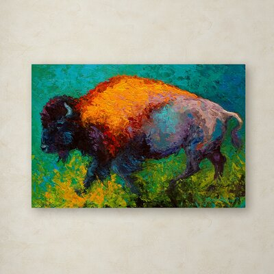'On the Run Bison' Print on Wrapped Canvas Size: 12