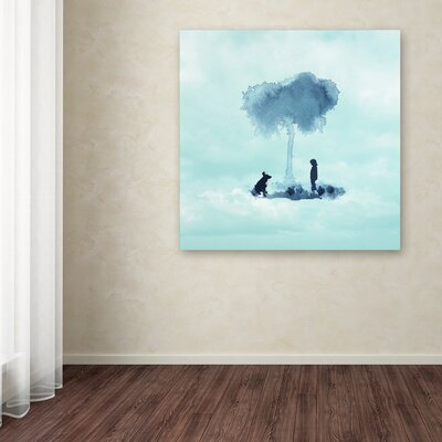 'A Boy and His Dog' Print on Wrapped Canvas Size: 14