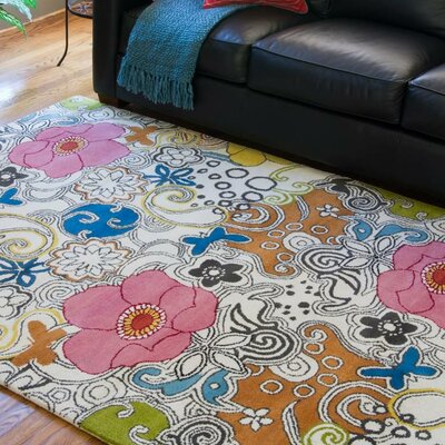 Goa Floral Area Rug Rug Size: Round 8