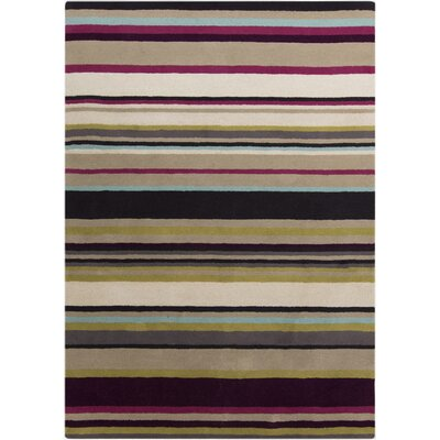 Harlequin Hand-Tufted Dark Purple/Olive Stripes Area Rug Rug Size: 8 x 10