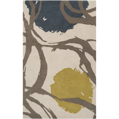 Harlequin Oatmeal Taupe Floral Area Rug Rug Size: 5 x 8