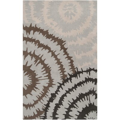 Harlequin Silvered Light Grey/Brown Floral Area Rug Rug Size: 9 x 12