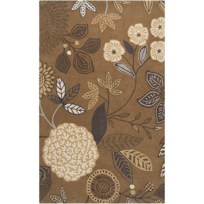 Harlequin Golden Brown Floral Area Rug Rug Size: 9 x 12