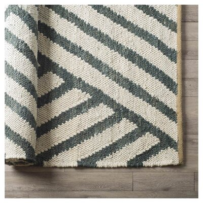 Jennings Hand-Woven White/Green Area Rug