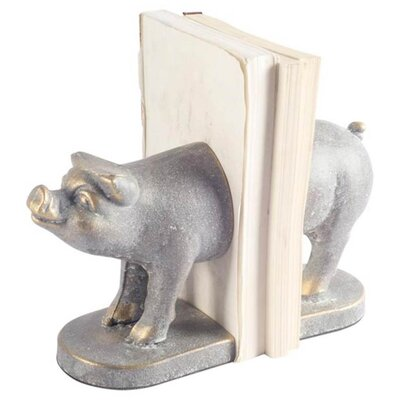 Pig Cast Iron Bookends August Grove