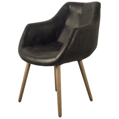 Dickerson Genuine Leather Upholstered Dining Chair Upholstery: Dark Chocolate