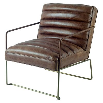 Hamlin Armchair Upholstery: Brown, Finish: Brass