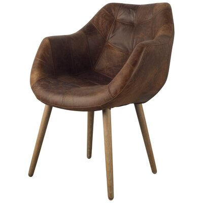Dickerson Genuine Leather Upholstered Dining Chair Upholstery: Brown