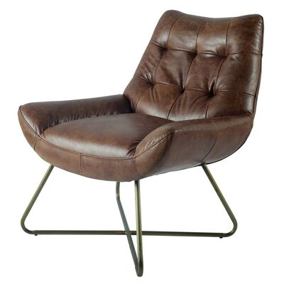 Rogers Lounge Chair Finish: Brass, Upholstery: Brown