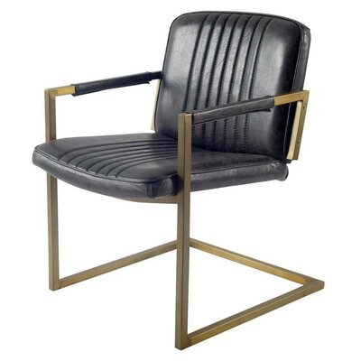Ariana Cantilever Genuine Leather Upholstered Dining Chair
