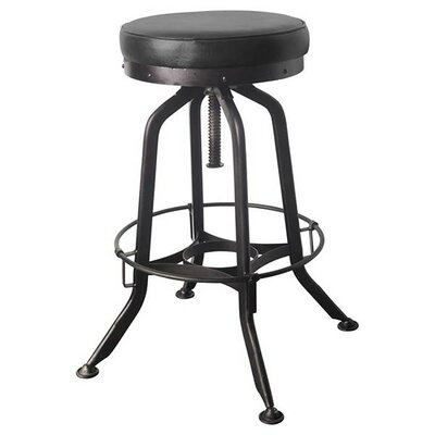 Salazar 28 Swivel Bar Stool with Cushion Upholstery: Black