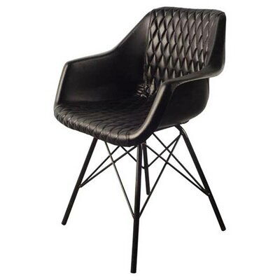 Kyra Upholstered Dining Chair Upholstery Color: Black